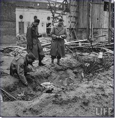 Site outside the Fuhrer bunker where the bodies of Adolf Hitler and Eva Braun were burnt (April 30, 1945)