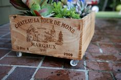 Love this! Wine Crate Planter DIY
