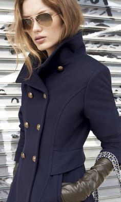 Ink blue wool coat, fitted
