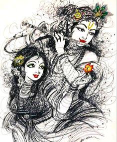 Radha Krishna Sketch, Krishna Drawing, Radha Krishna Pictures, Lord Krishna Images, Radha Krishna Photo, Krishna Photos, Krishna Art, Radha Krishna Paintings, Shree Krishna