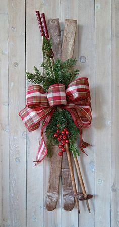 Christmas decoration, Skis and poles, holiday decoration, winter decoration, Christmas wreath, Door Decoration