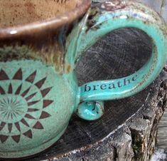 Personalized Pottery Coffee Mug - Made to Order - Infused with Reiki - Robin's Egg Brown or Purple OOAK Personalized Gift. $55.00, via Etsy.