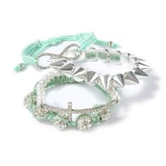 Crystal and Mint Stackable Bracelet Set