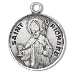 Sterling Silver Round Shaped St. Richard Medal by HMH | Catholic Shopping .com