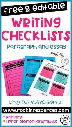 Get these free and editable writing checklists by subscribing to my blog at rockinresources.com! It covers paragraph and essay writing in the following types of writing: Narrative, Opinion, Informative, Descriptive, Persuasive, How-To. The checklists come in 3 sizes: a full-page version, a medium student version, and a post-it size version with a template. Head over to my blog now!