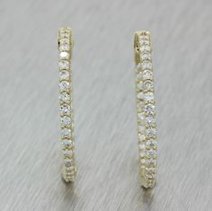7b3af6c9a2d Modern Vtg 14k Solid Yellow Gold 2.02ctw G Diamond In and Out Hoop Earrings