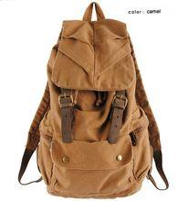 Cuero de la vendimia militar Hombres mochila de Lona mochilas escolares mochila…