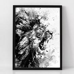 Lion peinture acrylique originale noir et blanc par BlackraptorArt
