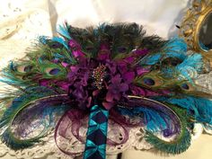 End of Winter Sale Deposit Peacock Wedding Purple Teal Bridal Bouquet Fan Keepsake, on Etsy Peacock Wedding Colors, Purple Wedding Bouquets, Wedding Flowers, Peacock Theme, Bridesmaid Bouquet, Wedding Dresses, Victorian Wedding Themes, Purple Teal, Purple Peacock