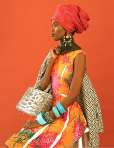 tribal lady | laha magazine fashion editorial #headwrap #floral