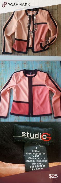 Studio G Color Block Blazer Shades of peach, apricot, salmon & black color block, zip up blazer. 100% Polyester  NO TRADES ***NO PAYPAL  SMOKE FREE & PET FREE HOME Studio G Jackets & Coats Blazers