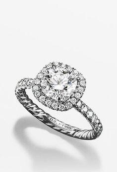 "Brides.com: Halo Engagement Rings ""Moghul"" platinum and diamond waves halo engagement ring, $14,080, Cathy Waterman available at Ylang 23Photo: Courtesy of Ylang23"