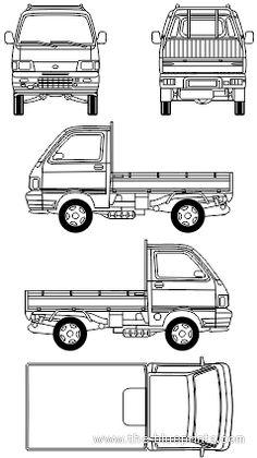 Blueprints > Cars > Daihatsu > Daihatsu Hijet Pick-up Small Trucks, Mini Trucks, Daihatsu, Kitchen Layout Plans, Living On The Road, Car Design Sketch, Car Drawings, Tiny House Plans, Carriage House