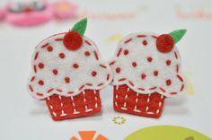 Set of 6pcs handmade felt cupcakered FT834 by AsecInc on Etsy