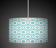 "40cm (16"") Blue Grey Retro Geometric Handmade Giclee Style Printed Fabric Lamp Drum Lampshade Floor or Ceiling Pendant Light Shade 562"