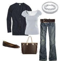 more navy. I love the juxtaposition of the fancy necklace and weathered jeans. by eugenia