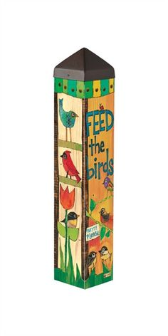 Durable garden poles are innovative reproductions of original hand painted artwork. Simple messages with vivid color are displayed for a unique garden accent. Set garden poles near a pathway, by the f