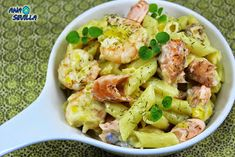 Un plato completo y sano, pescado y pasta, combinan genial, Pasta con salmón y langostinos, con Thermomix.