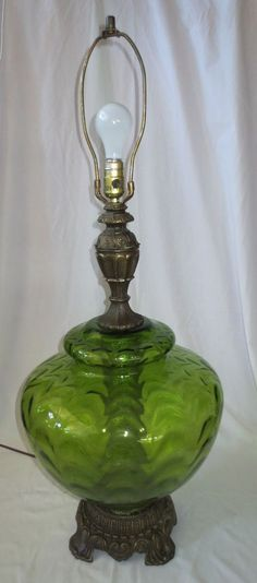 "Vtg Mid Century Regency Optic Green Glass Table Lamp Light 3 Way 37"" tall"