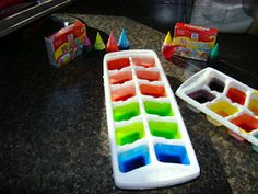 bath time fun - colored ice cubes -   This is a simple way to add a little (more) excitement to the bath time routine. - They love chasing the colors around while they melt.