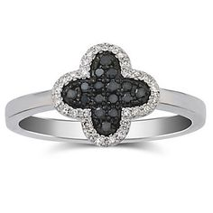 14k White Gold Black and White #Diamond Clover Ring from Borsheims