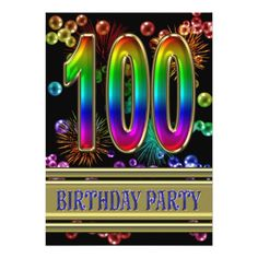 100th Birthday party Invitation with bubbles