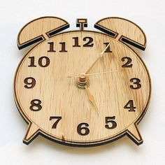 Retro Alarm Clock Style Modern Wooden Wall Clock  with by Klokx, $19.99