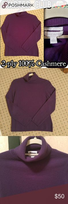 NWOT CHARTER CLUB 100% CASHMERE SWEATER Brand new without tags. Beautiful deep purple turtle neck sweater. Stitched hem, long sleeves. Size: Small Fabric: 2-PLY 100% Cashmere Brand: Charter Club Charter Club Tops