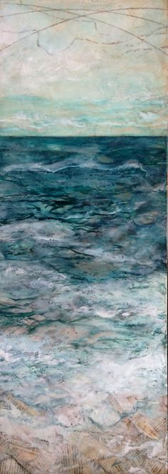 """'I'd Rather Be..."""" mpetersfineart.com - Michaelle Peters, encaustic, oil, inks, vintage book pages on board, 12 x 36"""""""