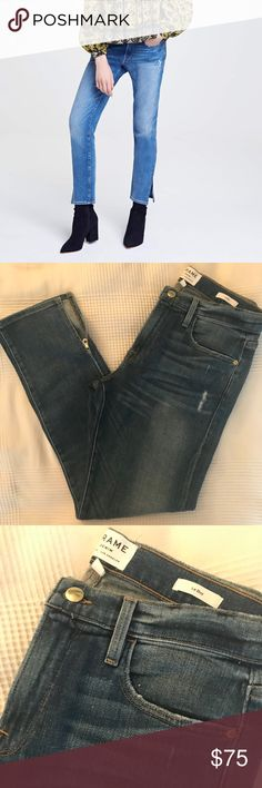 FRAME Denim Le Boy Crop Size 27 Le Boy Crop, Piccadilly wash, functional zipper detailing on each leg. Worn once, excellent condition. Very small stain on lower left leg, it is not particularly noticeable—see pic. Size 27. Super soft denim. Frame Denim Jeans