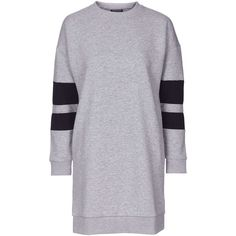 TOPSHOP Sporty Sweat Dress ($50) ❤ liked on Polyvore featuring dresses, grey marl, topshop, grey dress, oversized dress, sports dresses and gray dress