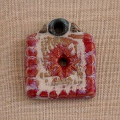 Square Porcelain Pendant in Red and Linen White by PorcelainJazz, on Etsy.