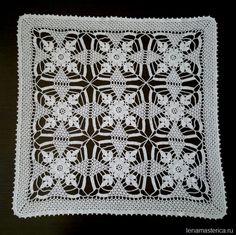 Вязаная салфетка из квадратных мотивов Rustic Lace Square, схемы