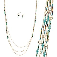 Triple Strands Multi Color Seed Beads Deco Long Necklace Set [EON3133GDTL] Wholesale24x7.com - Fashion Scarves and Accessories Wholesale, One Stop Wholesale Shopping for Scarves, Jewelry and Fashion Accessories!