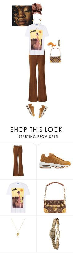 """""""new gig"""" by luxe-no-fuxe ❤ liked on Polyvore featuring Acne Studios, NIKE, Prada, Louis Vuitton and Cartier"""