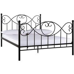 Juliette Metal Bed Frame ($110) ❤ liked on Polyvore featuring home, furniture, beds, metal furniture, foot bed, colored furniture, metal king beds and king bed