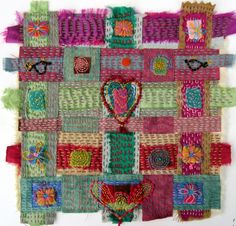 hand dye scraps and sari silk stitched by Jan Brattain