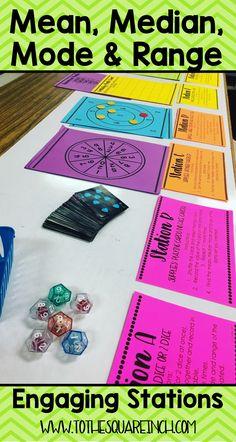 Math 6 Investigation Mean, median, mode and range stations Math Teacher, Math Classroom, Teaching Math, Classroom Ideas, Future Classroom, Teaching Ideas, Teacher Resources, Fun Math, Math Activities