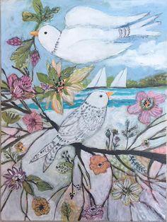 Mixed Media Bird Painting Collage Original Art by Karen Fields