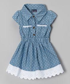Light Blue Denim Polka Dot Dress - Infant & Toddler