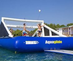 Make the most out of your day on the water by getting all your friends to join you on the floating volleyball court. Rather than the traditional piping hot sand court, you'll get to play over a soft and bouncy trampoline like surface that you can show off all your best moves on.