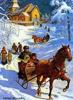 Walking & sleigh riding home from church. Christmas card art by Jenny Nyström (1854-1946).