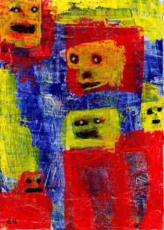 family reunion e9Art ACEO Outsider Art Brut Spirits Ghosts Painting Intuitive Abstract Figurative
