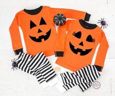 Halloween Pajamas Matching Halloween Pajamas Pumpkin Face | Etsy Kids Halloween Pajamas, Pregnant Halloween Costumes, Cute Halloween, Halloween 2020, Cute Cheer Shirts, Cool Shirts, Customise T Shirt, Pumpkin Faces, Orange Shirt