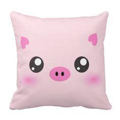 Cute Pig Face - kawaii minimalism Pillows - indeed, very cute