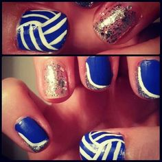 Volleyball nails, can't wait for the season to start! Love Nails, Fun Nails, Pretty Nails, Volleyball Nail Art, Nails For Kids, Types Of Nails, Fabulous Nails, Cute Nail Designs, Hair And Nails