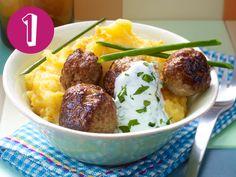 Kürbis-Kartoffelpüree mit Hackbällchen, Couscous-Tomaten-Salat, Nudel-Topf, Kokos-Curry und Milchreis - das sind meine Top 5 Sofa-Essen!