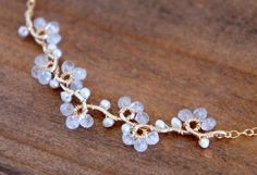 Moonstone Flower Vine Necklace Gold Filled Wire Wrapped Buds White Dainty Wedding Bridal Jewelry