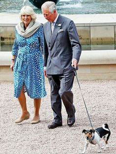 Camilla and Charles with their Jack Russell
