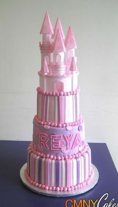 Stunning #Castle #Cake! #Stripes and shades of #Pink #White & #Mauve! We love and had to share! Great #CakeDecorating!